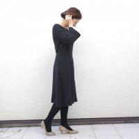 [KILARI x minikin] リネンのワンピースとネックレスのセット(BLACK)