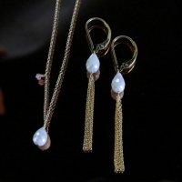 [minikin]《Holiday Collection》14kgf/ホワイトサファイアのピアス&ネックレスのセット