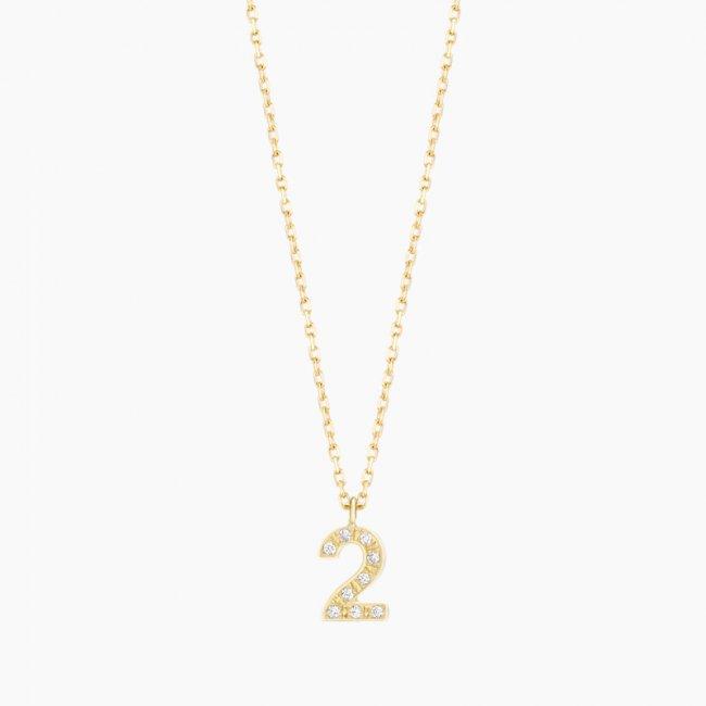 ダイヤモンド ナンバーS ネックレス NO.2  / 18KYG