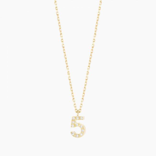 ダイヤモンド ナンバーS ネックレス NO.5  / 18KYG