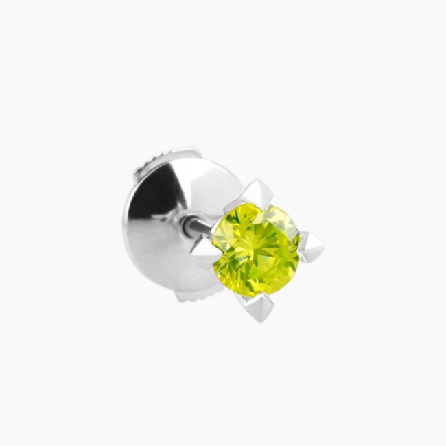 ブリリアント ピアス 4 / 18KWG / Fancy vivid yellow green