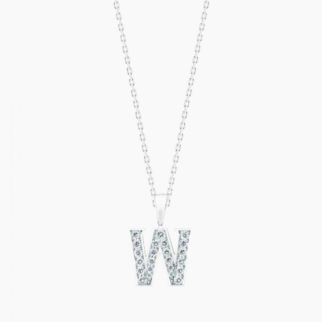 ダイヤモンド アルファベット W  / 18KWG