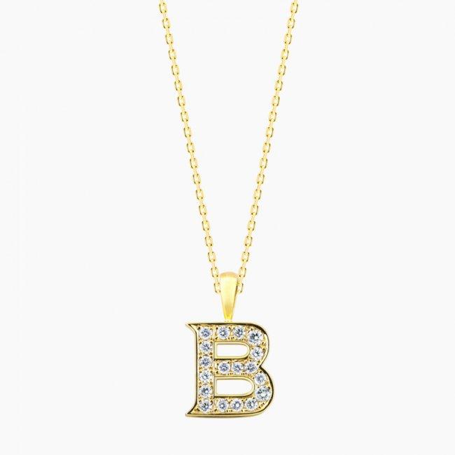 ダイヤモンド アルファベット B  / 18KYG