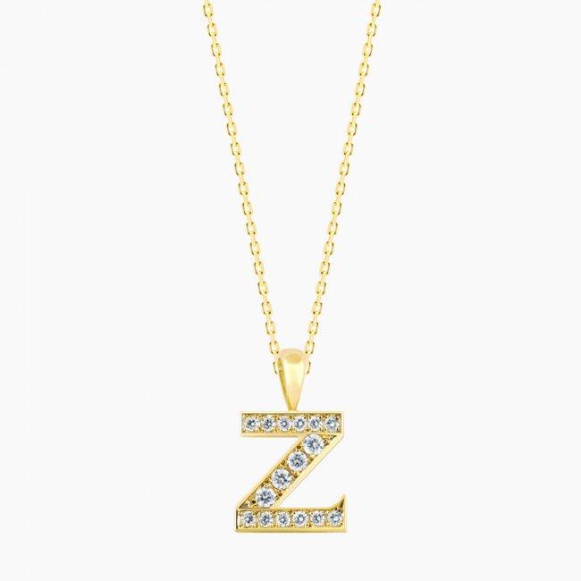 ダイヤモンド アルファベット Z  / 18KYG
