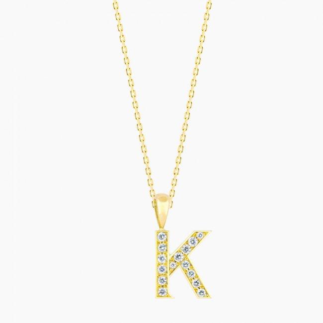ダイヤモンド アルファベット K  / 18KYG