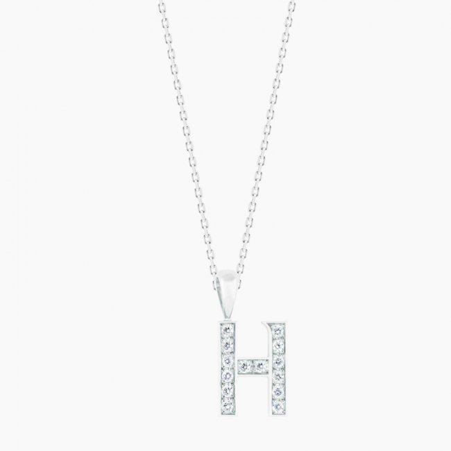 ダイヤモンド アルファベット H  / 18KWG