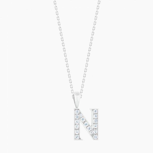 ダイヤモンド アルファベット N  / 18KWG