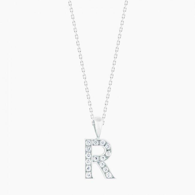 ダイヤモンド アルファベット R  / 18KWG