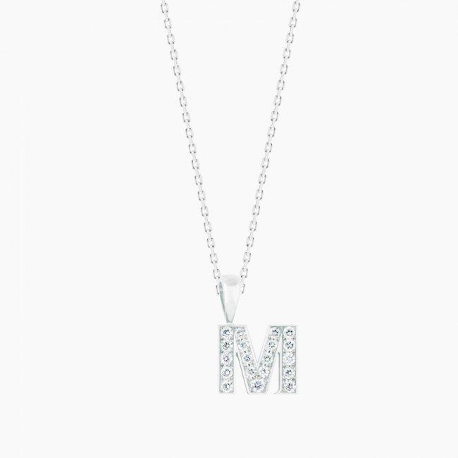ダイヤモンド アルファベット M(S)  / 18KWG
