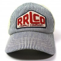 RRL INDIGO STRIPED TRUCKER HAT WHITE/INDIGO