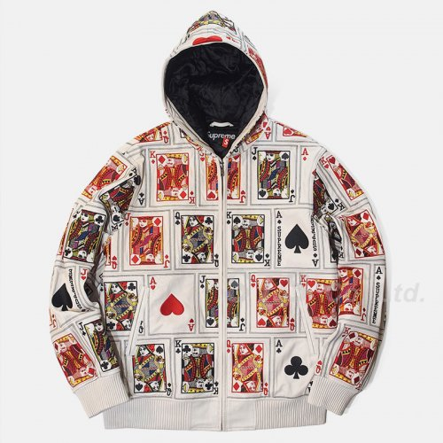 Supreme - Court Cards Hooded Leather Jacket