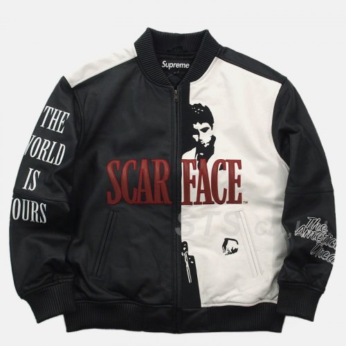 Supreme - Scarface Embroidered Leather Jacket