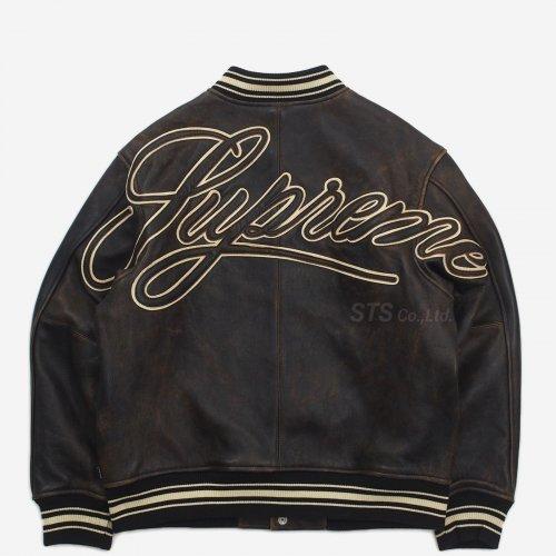 Supreme - Worn Leather Varsity Jacket
