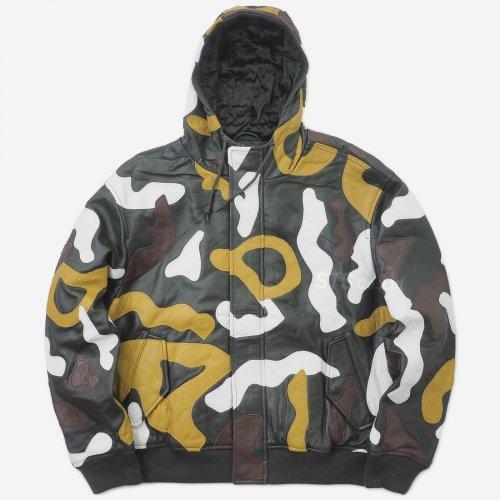 Supreme - Camo Leather Hooded Jacket