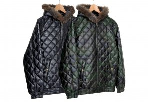 Supreme - Quilted Leather Hooded Jacket