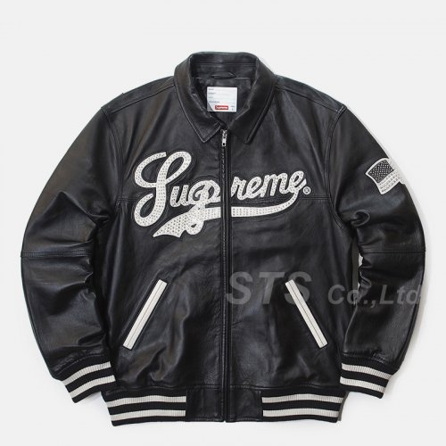 Supreme - Uptown Studded Leather Varsity Jacket
