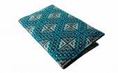 モン刺繍の両面ポケットのカードケース(BlAq)