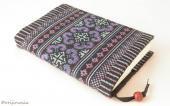 モン刺繍の文庫本用ブックカバー(PrAq)