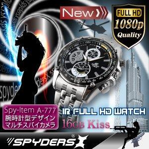 【腕時計型カメラ】赤外線 夜間撮影可 スパイカメラ スパイダーズX (W-777) フルハイビジョン 16GB内蔵