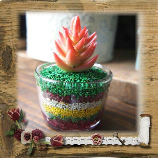 【E*Necolle】フェイク多肉植物withカラーサンドガラスポット
