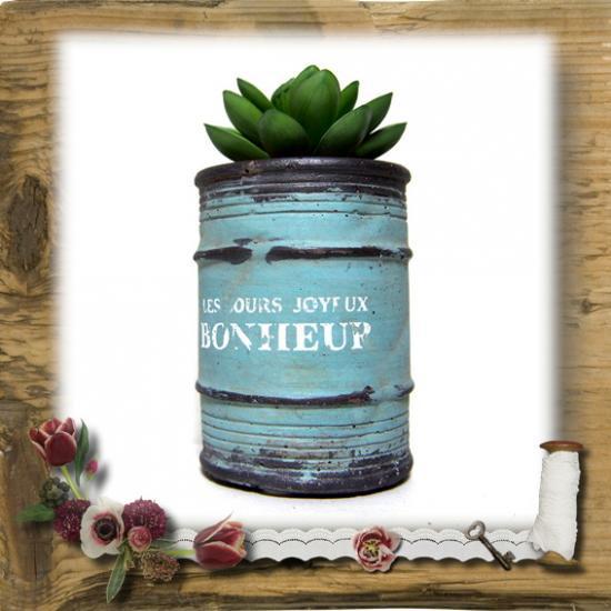 【E*Necolle】フェイク多肉植物withドラム缶ポット アクアブルー