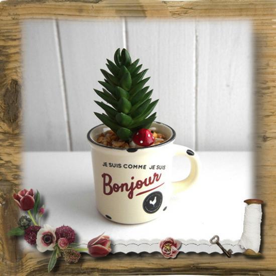 【E*Necolle】フェイク多肉植物withフレンチマグカップ アイボリー