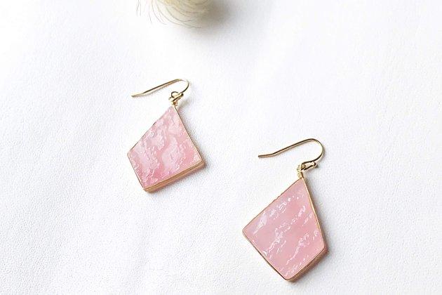 【ピアスゴールド】Bon ピンク グラニト 【画像3】