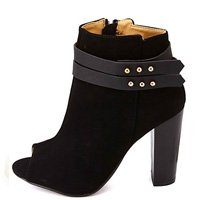 Dollhouse Belted Chunky Heel Peep Toe Booties From CharlotteRusse