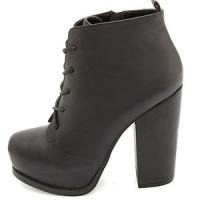 【LAST ONE!!!】【Charlotte Russe/シャーロットルッセ】Chunky-Heeled Platform Lace-Up Booties