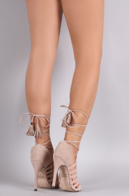 【SALE対象商品!人気!】 LA Suede Strappy Tassel Lace-Up Stiletto Heel NUDE