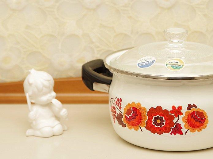 昭和レトロ 象印 ホーロー片手鍋 クリアリッド レッド花柄 18センチ
