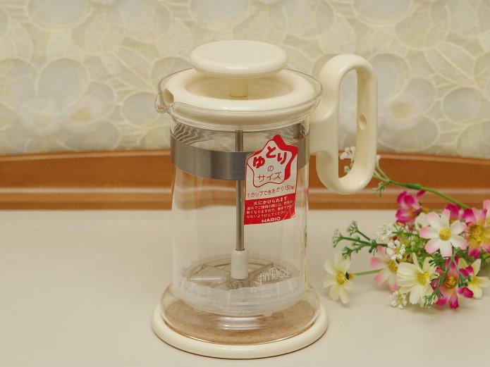ハリオ 直火対応 耐熱ガラスポット プレス式コーヒー&紅茶メーカー ホワイト 0.5リットル