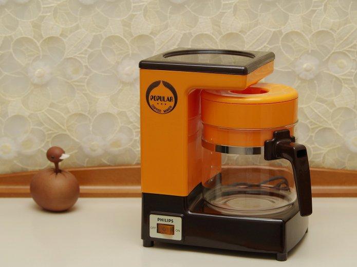 昭和レトロ ビンテージ フィリップス  コーヒーメーカー HD5115  5人用 オレンジイエロー