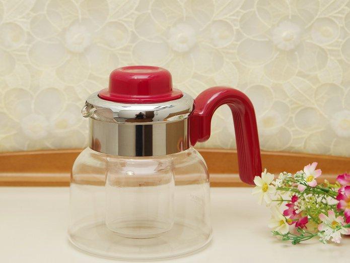 パイレックス 直火対応 耐熱ガラスポット 2WAY 保冷器内蔵 ワインレッド 1.0リットル