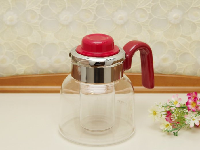パイレックス 直火対応 耐熱ガラスポット 2WAY 保冷器内蔵 ワインレッド 1.4リットル