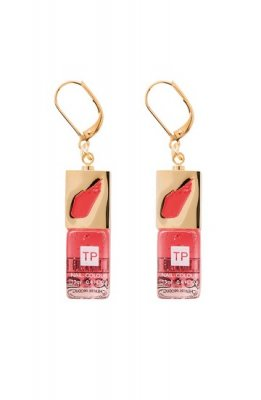 THEATRE PRODUCTS metal acrylic mini nail color pierced earrings(red)