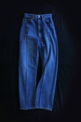 HOLIDAY stitch denim high-waist wide pants