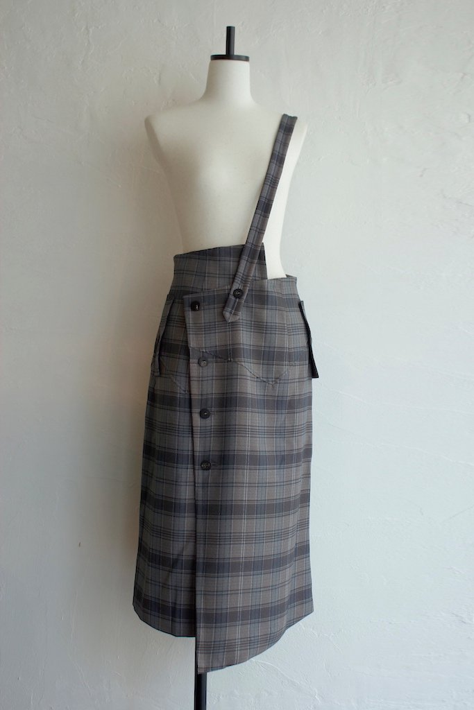 TARO HORIUCHI one shoulder skirt(browncheck)