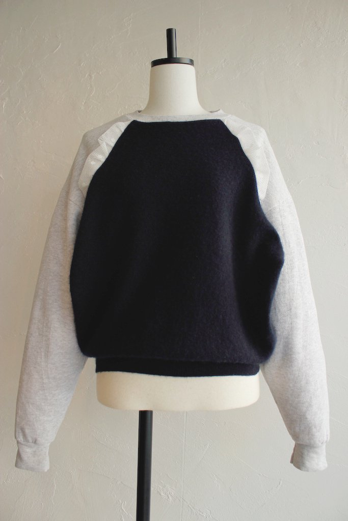 Kidole sweat sleeve dot tulle cashmere knit