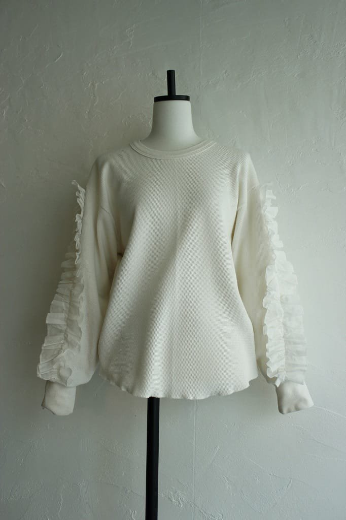 Kidole. frill sleeve thermal long sleeve tee