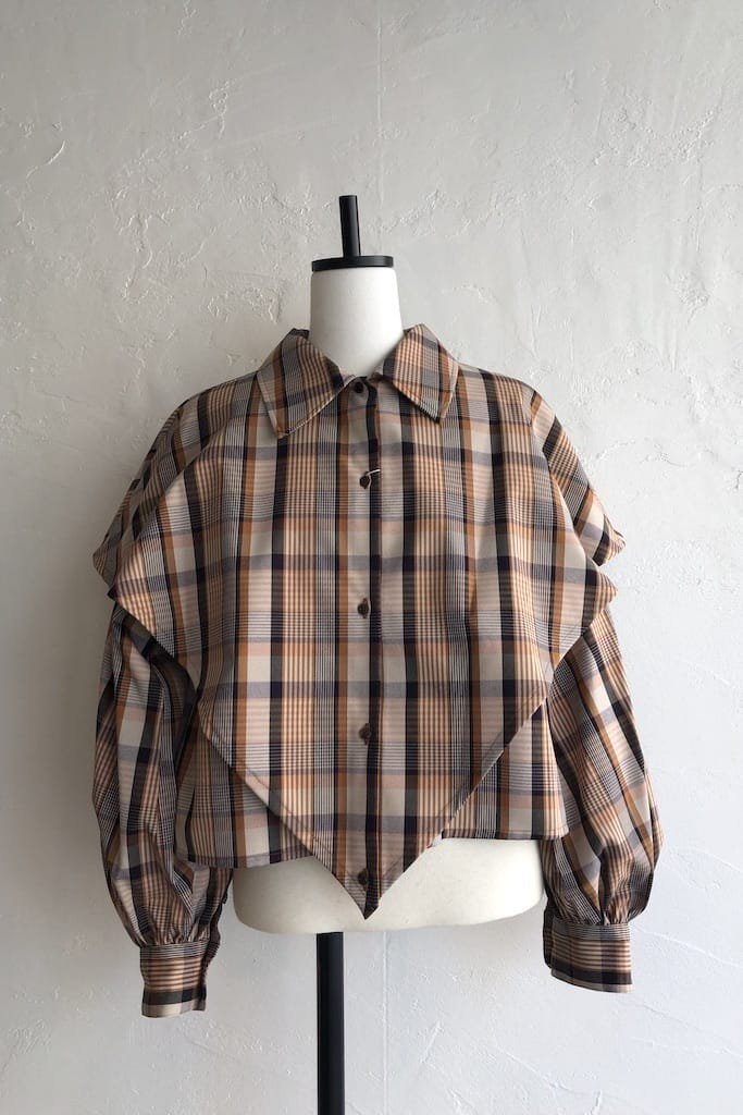EFILEVOL check layered shirt(camel check)