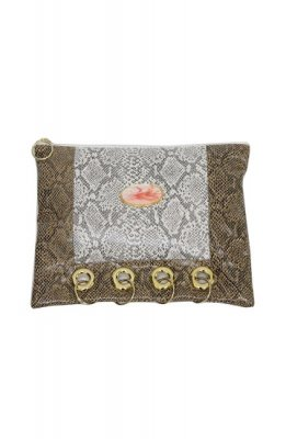 THEATRE PRODUCTS fake python clutch bag