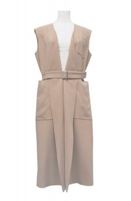 TARO HORIUCHI triacetate sleeveless coat(beige)