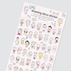 可愛い輸入シール/ペーパードールメイト/ドリーム/レトロ/afrocat sticker 011ペーパードールメイトステッカー drawing deco sticker