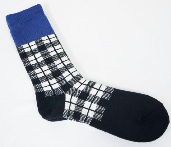 RoToTo(ロトト)  CHECKERED SOCKS チェック柄靴下 BLU