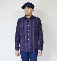 NEVERTRUST(ネバートラスト)  マルチストライプ・ホリゾンタルカラーシャツ NVY