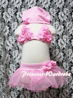 プリンセス-ワードローブキャップ付水着☆フリフリピンクのビキニだよ☆ラスト1点