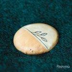 トナカイの角と白樺(カーリーバーチ)・ハーフブローチ 白樺の葉 C サーミ ハンドクラフト フィンランド製