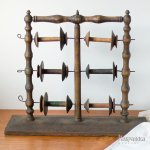 木製糸巻きホルダー スタンド ボビン スプール アンティーク スウェーデン製