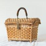 アンティーク パニエ かごバッグ 革ハンドル バスケット B フランス製
